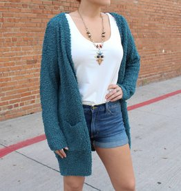 Listicle Popcorn Textured Open Cardigan