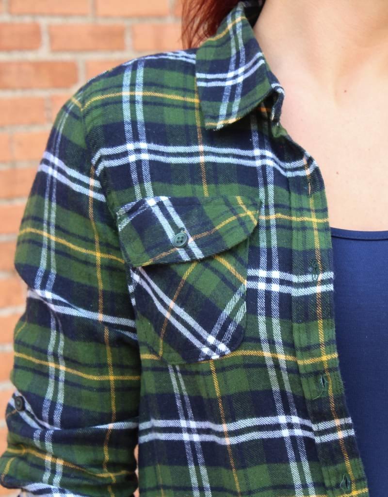 Blue Age Plaid Flannel Button Up Shirt