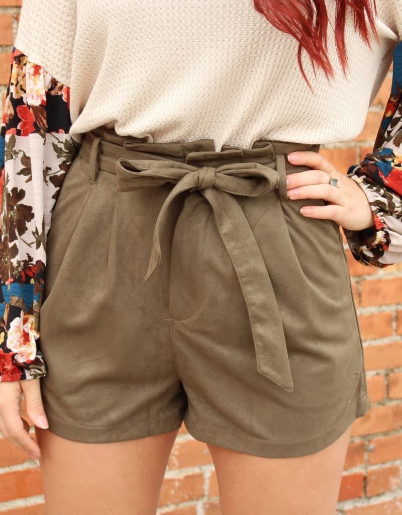 She + Sky High Waist Suede Shorts