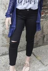 April Jeans Capri Pants with Frayed Hem