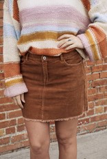Sunglight Corduroy Frayed Hem Mini Skirt