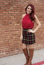 Umgee High Waist Plaid Mini Skirt