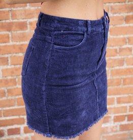 Sunglight Corduroy Frayed Hem Mini Skirt