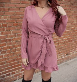 HYFVE Long Sleeve Faux Wrap Dress