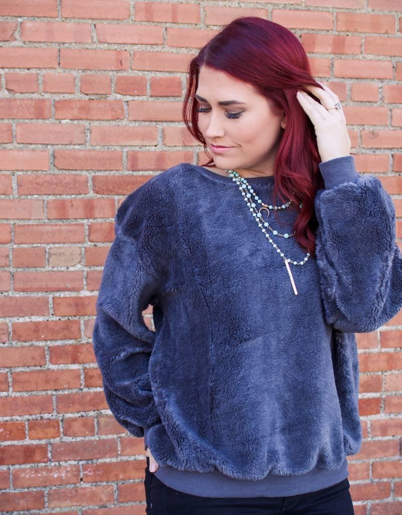 Umgee Long Sleeve Fuzzy Sweater