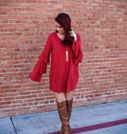 Umgee Tiered Long Sleeve Shift Dress