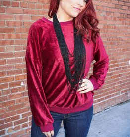 Listicle Corduroy Velvet Crew Neck Sweater