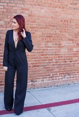 Wild Honey Long Sleeve V Neck Jumpsuit