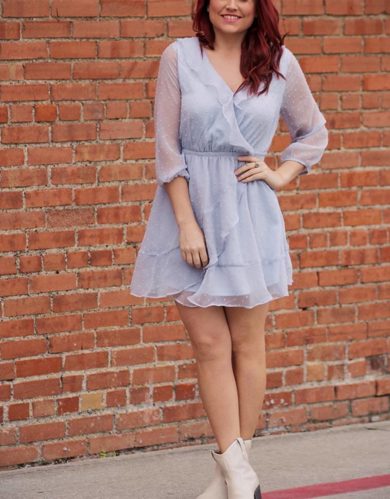 entro 3/4 Sleeve Faux Wrap Girly Dot Dress