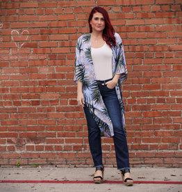 She + Sky Tropical Print Kimono
