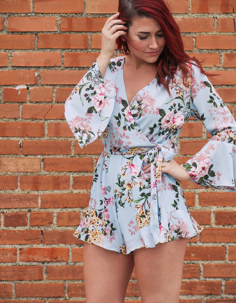 She + Sky 3/4 Flare Sleeve Floral Romper