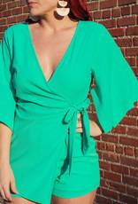 She + Sky Kimono Sleeve Wrap Romper