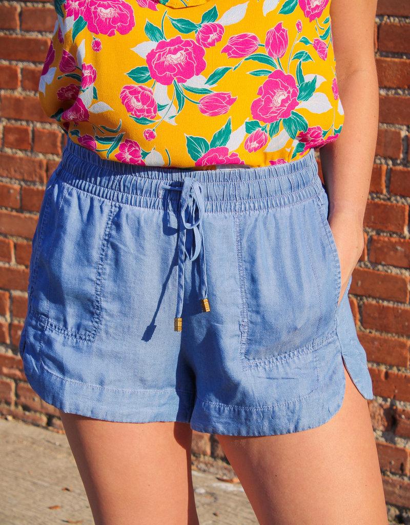 Wishlist Chambray Elastic Waist Shorts