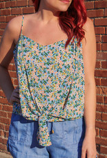 Lush Tie Front Floral Tank