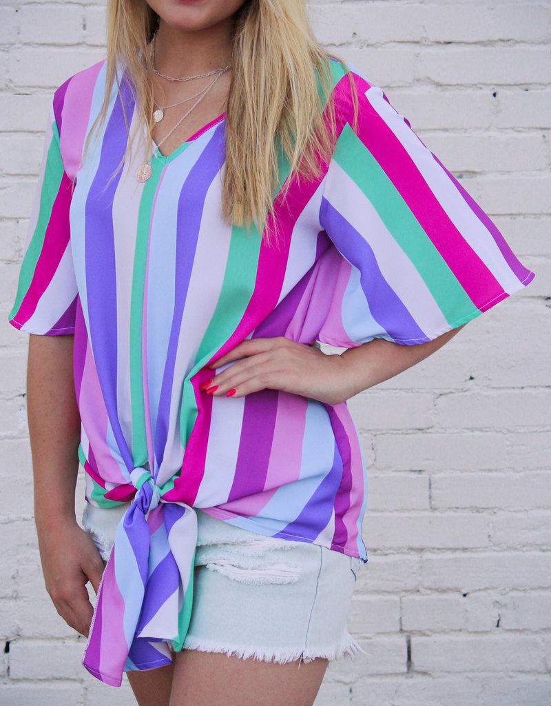 BiBi Multi Stripe Tie Front Top