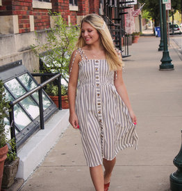 Blue B Smocked Stripe Midi Dress