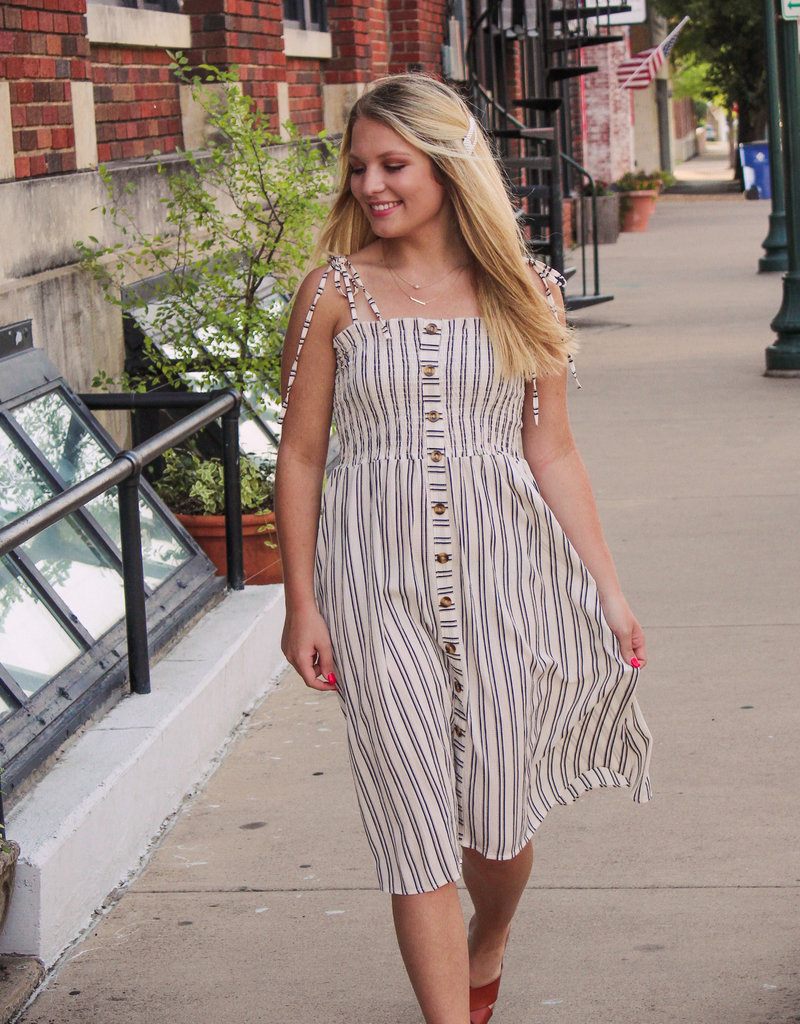 Blue B Smocked Stripe Midi Dress