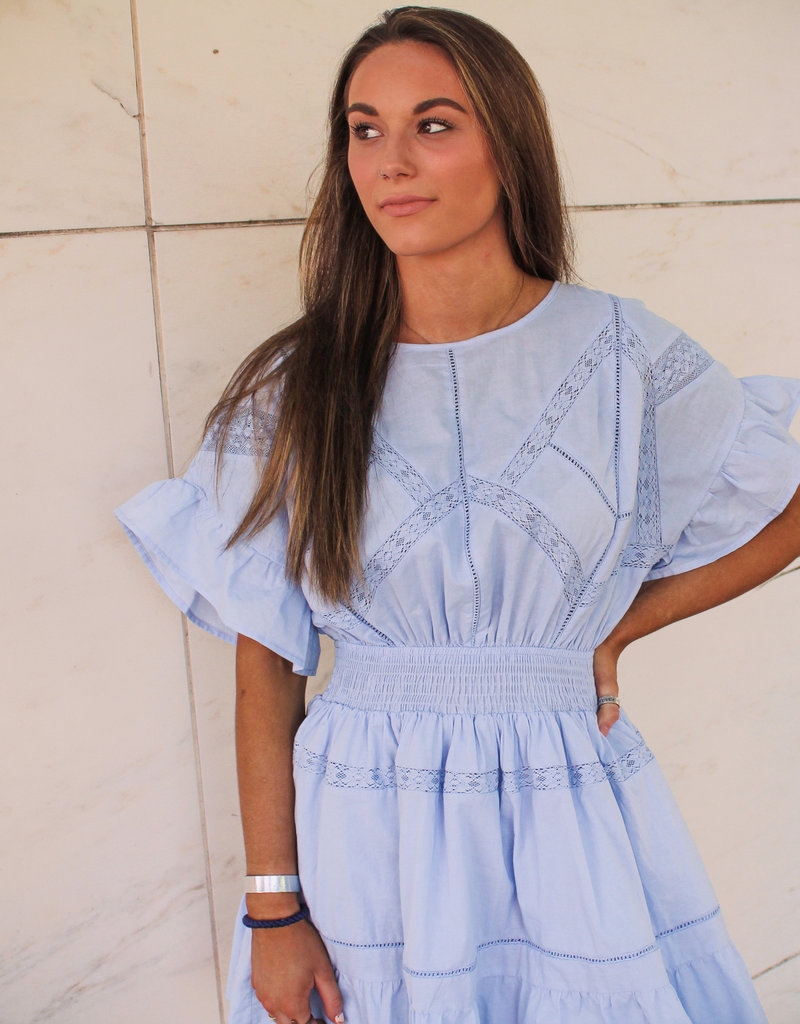 INA Short Sleeve Smock Waist Dress