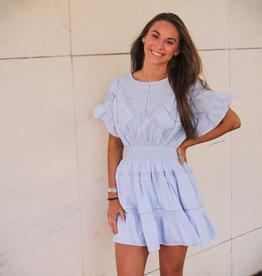 INA Short Sleeve Smock Waist Dress