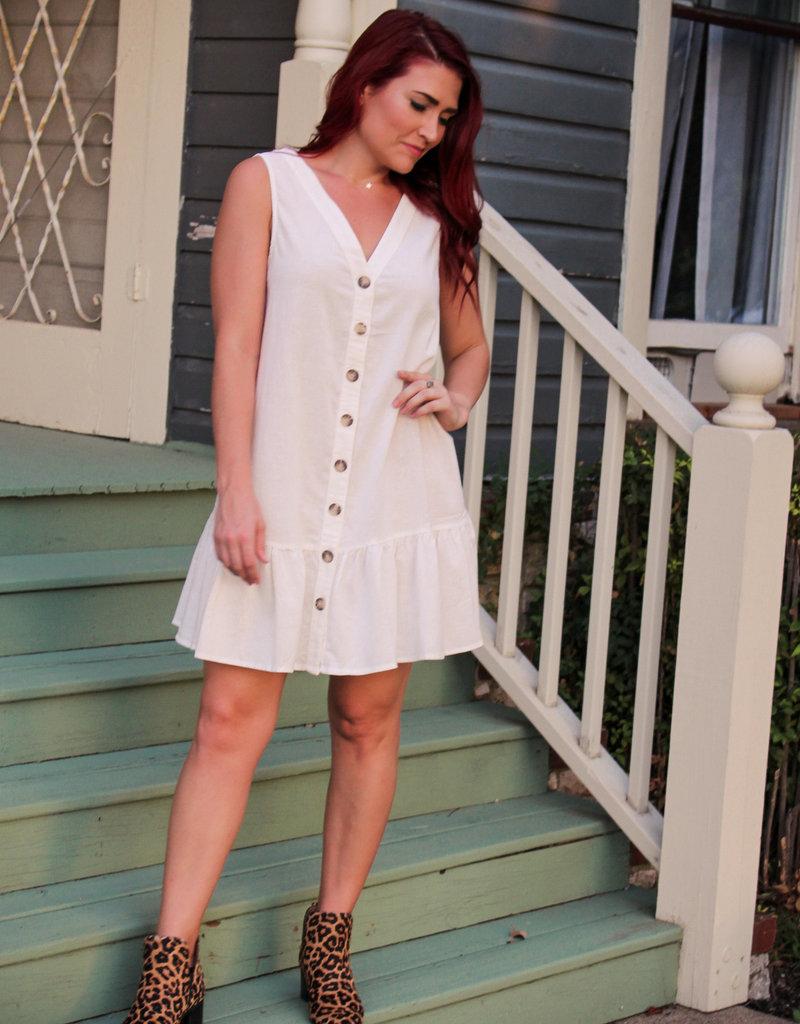 Wishlist Linen Button Down Sleeveless Dress