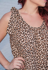 entro Leopard Scoop Neck Dress