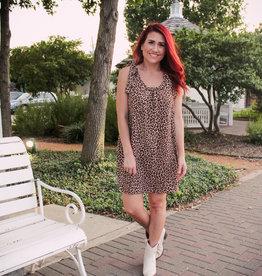 entro Leopard Scoop Neck Dress