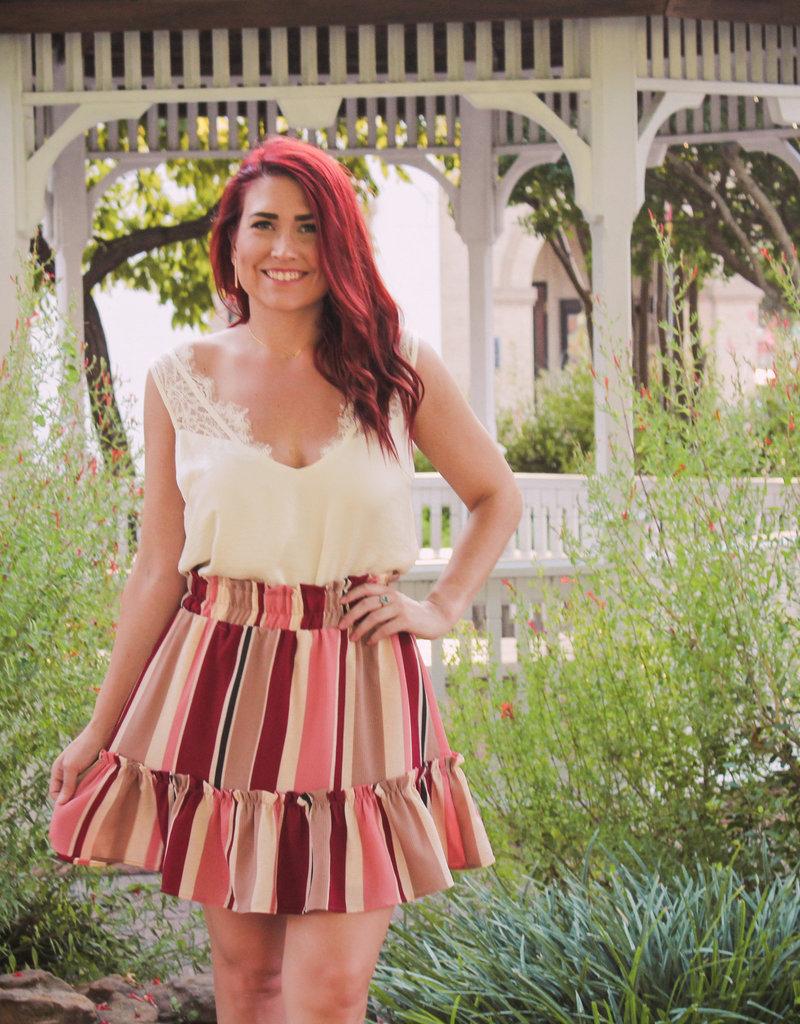 entro Stripped Smocked Waist Ruffle Hem Skirt
