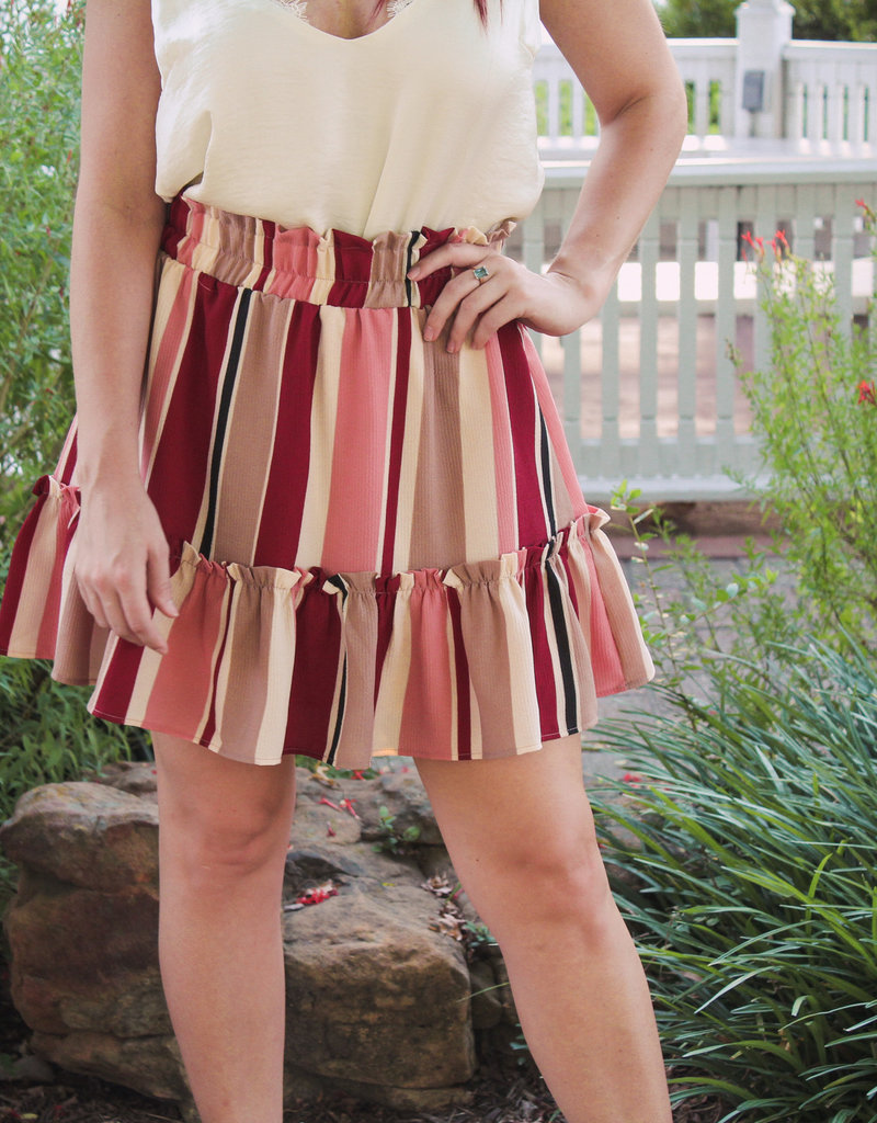 entro Stripped Smocked Waist Ruffle Hem Skirt