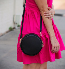 H&D Accessories Black Circle Crossbody Bag
