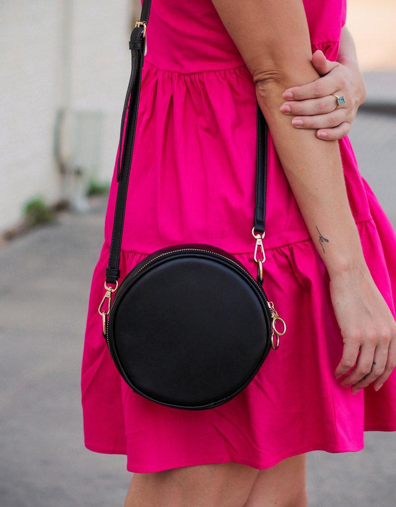 H&D Accessories Black Circle Crossbody Bag