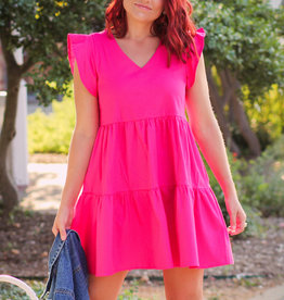 Racheal V-Neck Ruffle Sleeve Tiered Dress