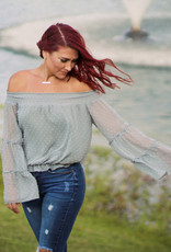 Hyped Unicorn Off-the-Shoulder Textured Wide Sleeve Top