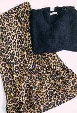 She + Sky Animal Print Satin Midi Skirt