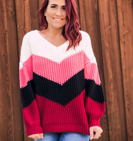 BiBi Chevron Color Block Sweater