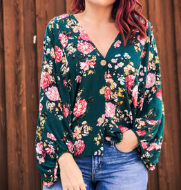 Umgee Floral Puff Sleeve V-Neck Top