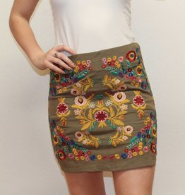 Umgee Green Floral Embroidered Skirt