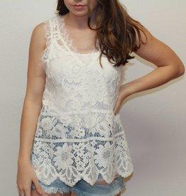 loveriche Sleeveless V-Neck Lace Top