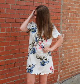 mittoshop Floral Scalloped Hem Short Sleeve Dress