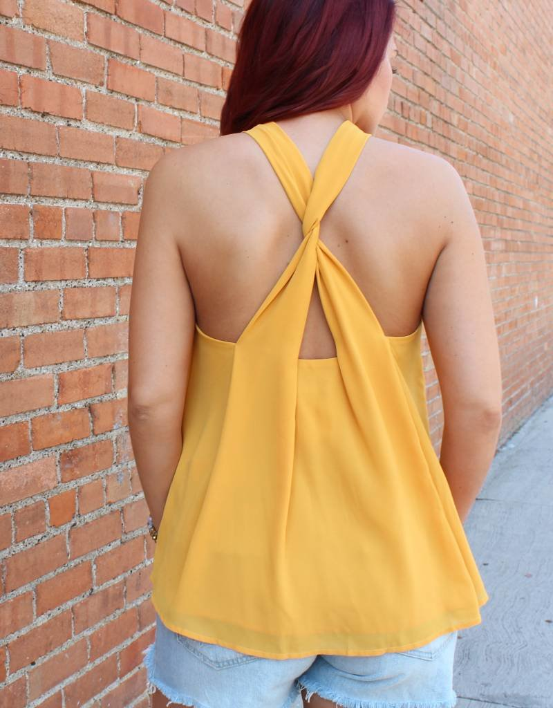 She + Sky High Neck Twisted Back Halter Top