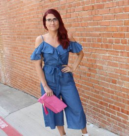 Umgee Wide Leg Ruffle Chambray Jumpsuit