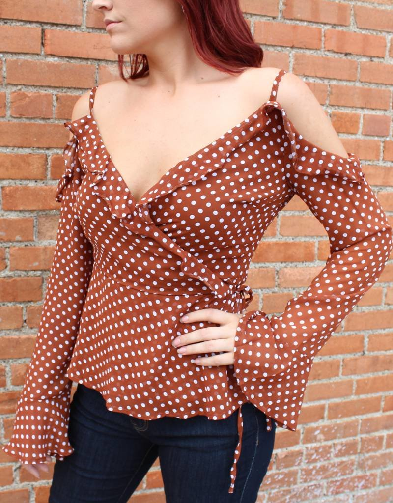 Listicle Dot Cold Shoulder Ruffle Top