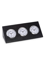 Triple Time Zone Clock Wood