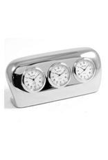 Silver 3 Face Timezone Clock