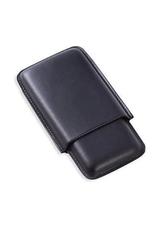 Triple Cigar Black Leather Case