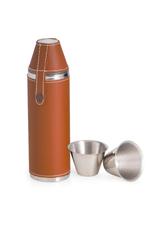 Tan Leather 10oz Flask w/cups