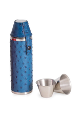 Blue Ostrich Leather 10oz Flask w/cups
