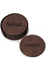 6 Coaster Set with Holder - Rustic Brown