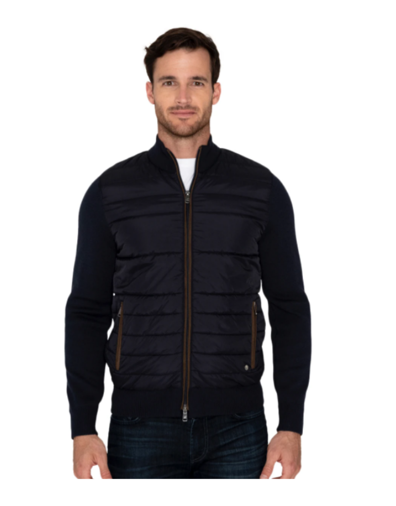Raffi Quilted Jacket with Suede Trim - Navy
