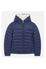 Save the Duck: Boys Puffer with Fur - Navy