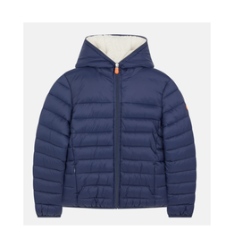 Boys Puffer with Fur - Navy